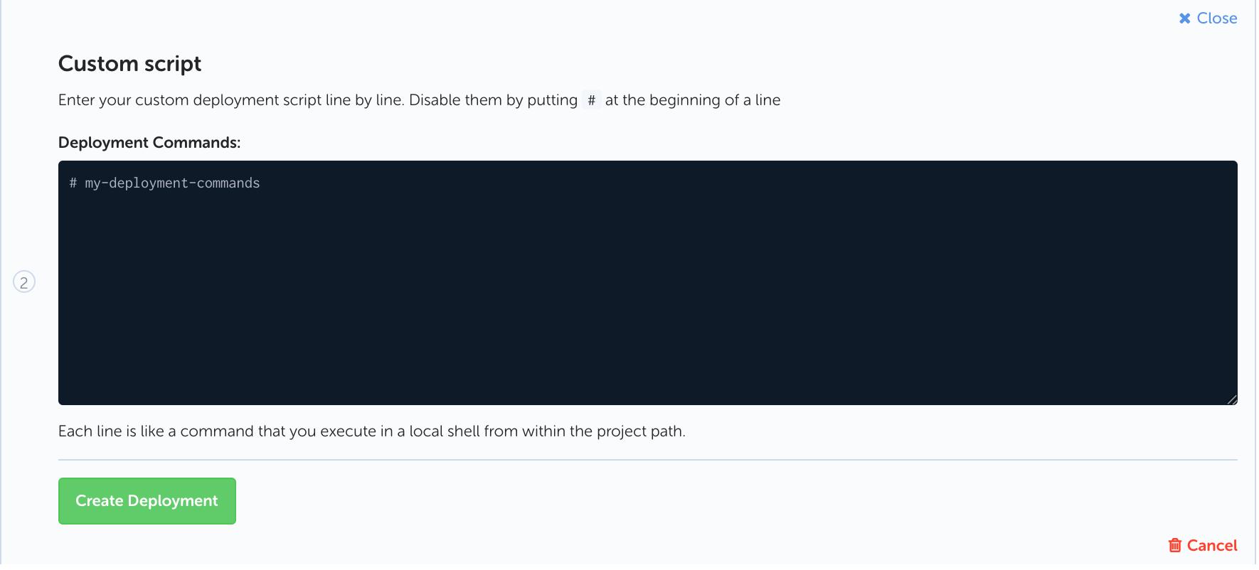Codeship deployment script editor