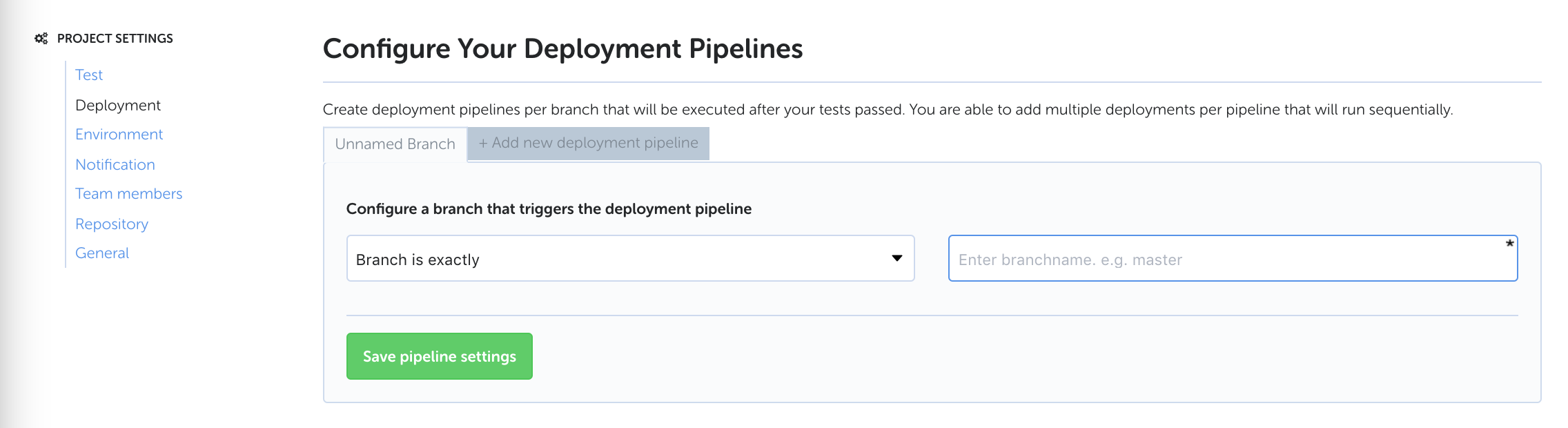 Codeship's project deployment pipeline screen